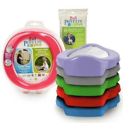 Potette Plus Folding Travel Portable Potty Toilet Trainer Seat + 3 Pack Liners