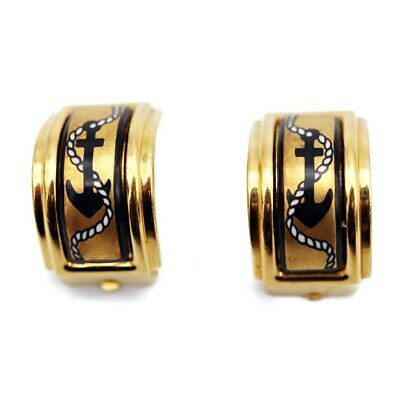 Hermes Emaille Earring Black Gold Women''s Accessories Accessory