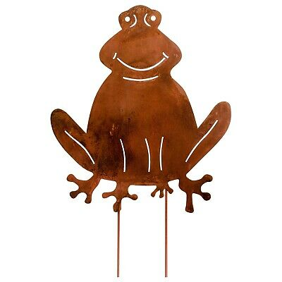 Set of 4 garden stake garden bed frog iron rusty antique style 55cm