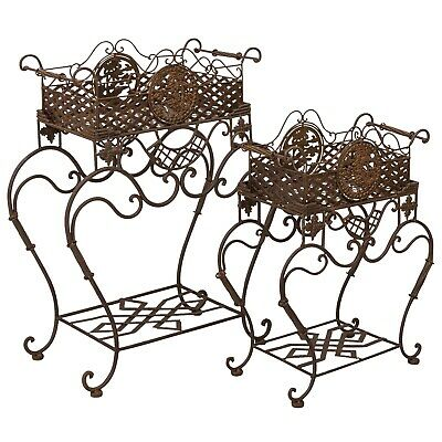 Pair planter flower stand flower tub garden antique style raised bed
