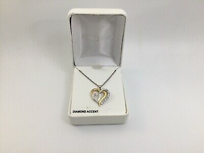18k Gold-Over-Silver & Sterling Silver Diamond Accent Heart Pendant MSRP $110.00