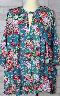 UMGEE Jade Floral Hi Lo Dress Trapeze Swing Boho Chic Bell Sleeve Tunic Small