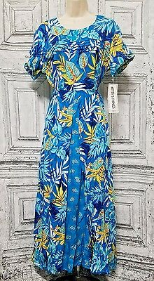 Vintage Women's Dress Betsy's Things Blue Yellow Floral 12
