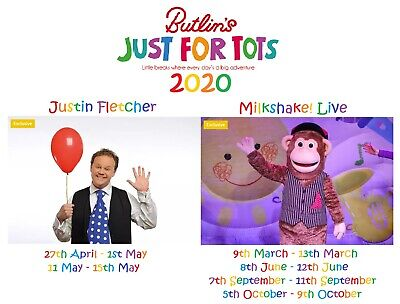 Butlins Skegness Caravan Holiday Mon-Fri 4 Nights JUST FOR TOTS Justin Fletcher