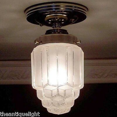 750 Vintage skyscraper Ceiling Light Lamp Fixture bath hall porch 1 of 3