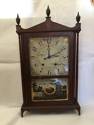 An Antique 19th Century Eli Terry & Sons Pillar Shelf / Mantel Clock