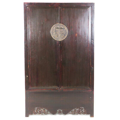 """Antique Chinese Dark Elm Armoire Cabinet, 42"""" W, 69"""" T, 20"""" D, Carved Apron"""