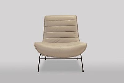 Fog Grey Leather Armchair Designer Exclusive Retro Chairs Free Delivery !!!