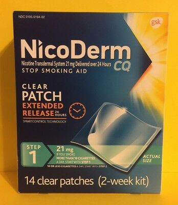 NicoDerm CQ 21mg Step 1 2 Week Kit - 14 Clear Patches Expires 05/2020 -Free Ship