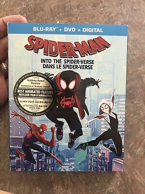 Sipder Man Into The Spider-Verse Blu Ray + Dvd + Slipcover  Brand New