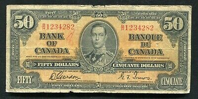 BC-26b 1937 $50 FIFTY DOLLARS BANK OF CANADA BANKNOTE GORDON/TOWERS