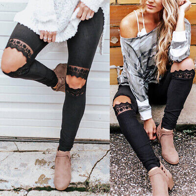 Lady Slim Lace Hollow Leggings Stretch Pencil Pants Spring Casual Solid Trousers