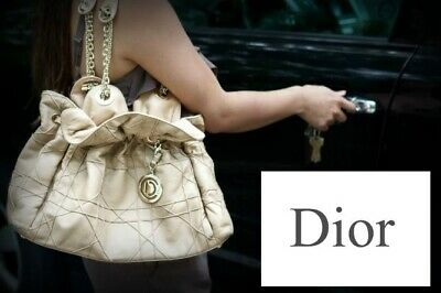 efd8e6b9cd $1950 Christian Dior Quilted Cannage Le Trente Tan Beige Leather Hobo Bag  Purse