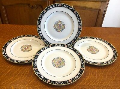 "4 New Mint Wedgwood Bone China Runnymede Blue Pattern 6"" Bread Or Dessert Plates"