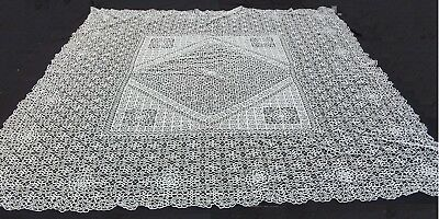 Vintage Bedspread Coverlet bed cover lace handmade italian Tatting chiacchierino