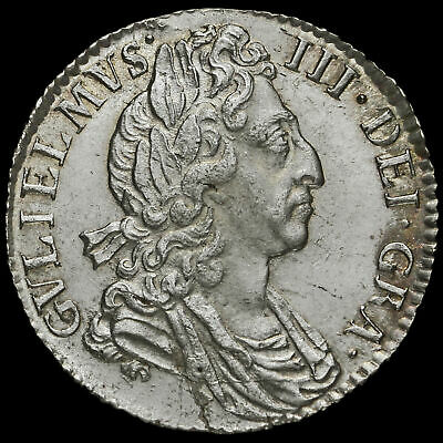 1697 William III Early Milled Silver Sixpence, Third Bust, A/UNC