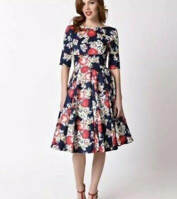 02aa2e3649c Pretty Dress Company Hepburn Swing Dress Vintage Style Floral Uk 16  Us  10-12