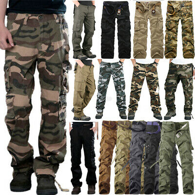 Mens Military Combat Trousers Camouflage Cargo Camo Army Casual Work Pants 2019