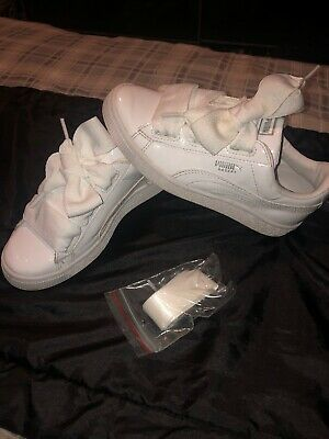 Girls White Paton Puma Trainers with Ribbon Laces Size 2