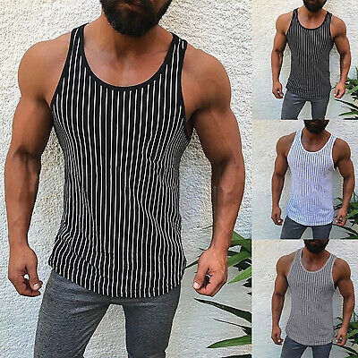 Men Striped Muscle Tank Top Shirts Sleeveless Gym Tee Workout Casual Sports Vest