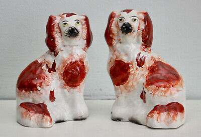 A Splendid Small Pair Antique c19th Staffordshire Spaniels Russet and White