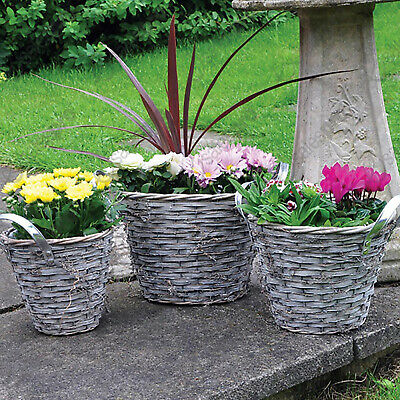 Set of 3 natural wicker basket planters with multi buy deals