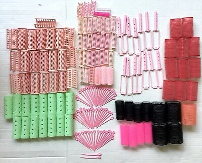 Plastic Brush Hair Rollers & Curlers Snap Covers Picks Lot Vtg 71 Piece Wil-Hold