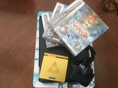 Gold Zelda Special Edition Nintendo Game Boy Advance SP +3 Box Games.