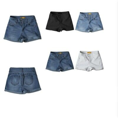 FashionOutfit Women's Casual Two Buttons Push Up Roll-up Cuff Denim Shorts