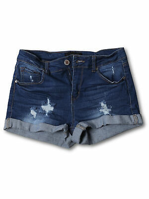 FashionOutfit Women's Casual Distressed Roll-Up Cuff Denim Shorts