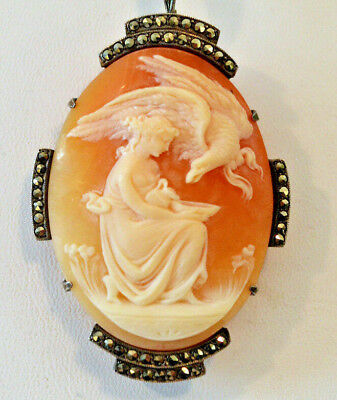 "Beautiful Shell CAMEO ""Hebe Feeding Eagle"" PIN/PENDANT Sterling Silver Marcasite"