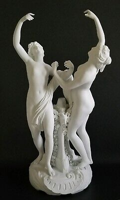 Beautiful Antique Sevres Bisque Statue Nude Nymphs