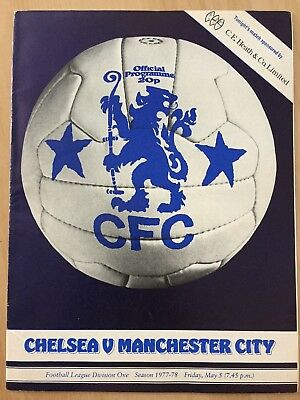 Chelsea Vs Manchester City Division One Matchday Programme May 1978