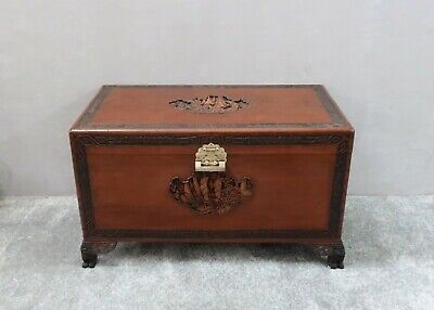 Antique Oriental Carved Camphor Wood Chest