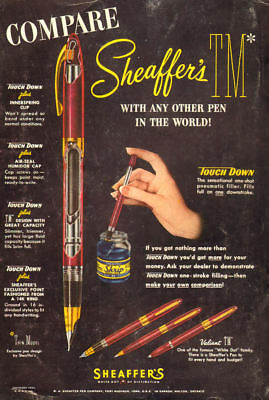1952 vintage AD Schaeffer's Fountain Pens Cut away View , Skip Ink   092218