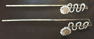 Pair Antique Crystal & Metal Drapery Holdbacks, Large