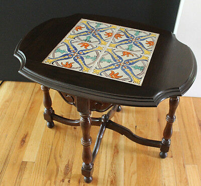 Early Calif ca.30's Taylor Tile & Northwest Chair Co.Turned Wood Table NICE!