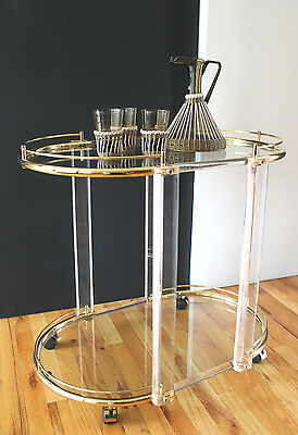 Mid Century 70's Hollywood Regency Style Italian Lucite,Brass&Glass Bar Trolly