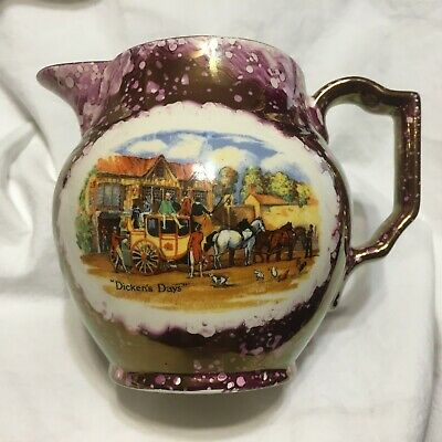 """VTG, Pitcher,""""Dickens Days"""", Copper/Purple Lustre,Grays Pottery,ENGLAND !!   S4"""