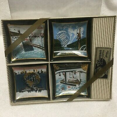 VTG, NEW YORK WORLD'S FAIR, 1964-65, Set Of 4 *HOUZE ART* Mini Glass Trays !! S2
