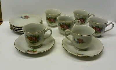 Vtg. Demi-Tasse Tea Cup and Saucer Set for 6 Tea Party Made in Occupied Japan