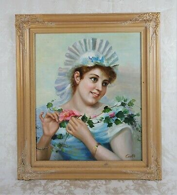 Antique Victorian Lady Portrait Oil Painting Beautiful Woman Signed Conti