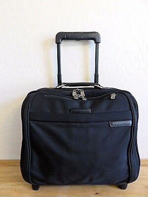 "Briggs & Riley 16"" Executive Rolling Carry On Travel Black Laptop Bag Br-214"