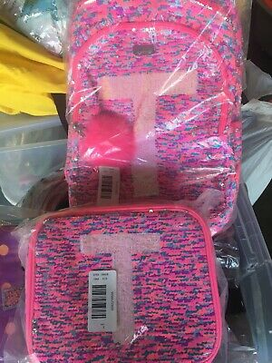 """Justice Girls Flip Sequin Initial Backpack and Lunch Tote Set New """"T"""""""
