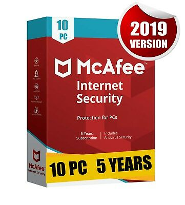Mcafee Internet Security 2019 10 Pc 5 Years Antivirus Best Protection Pc Laptop