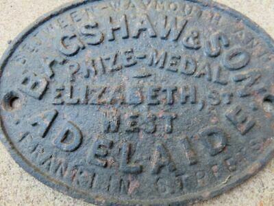 Antique Cast Metal Prize Medal Plaque Badge Bagshaw & Son Adelaide  Machinery