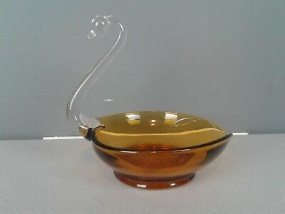 Vintage New Martinsville Amber glass Crystal Swan Bowl Candy Nut Dish