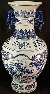 Large Chinese Blue & White Scenic Design Porcelain Vase Signed
