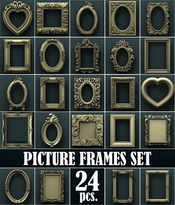 3d STL Model Relief for CNC Router  _ (0020) Picture frame set