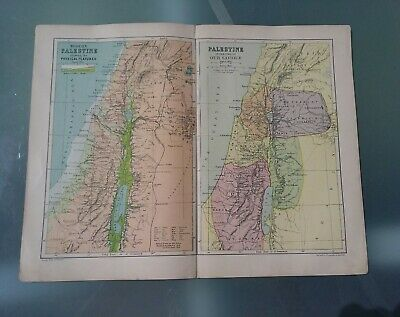 Antique Map Of Palestine By George Philip.1890 -1910